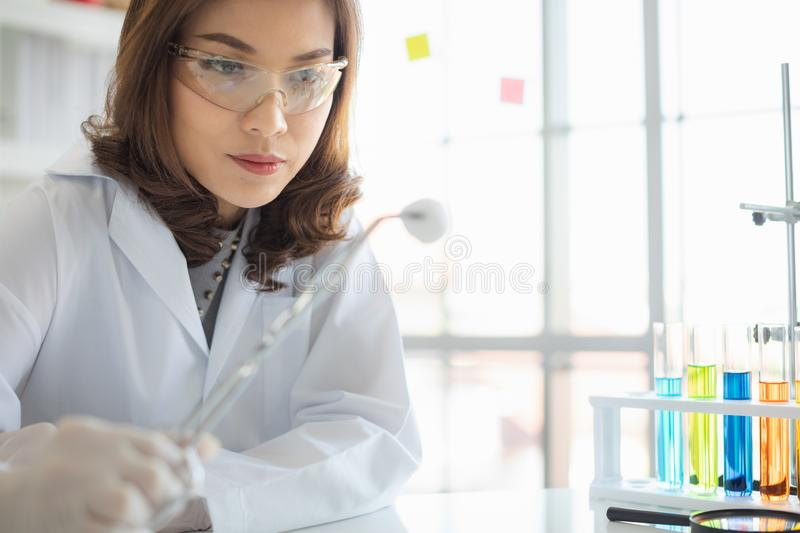 Scientist hold cotton to collect new sample royalty free stock photo