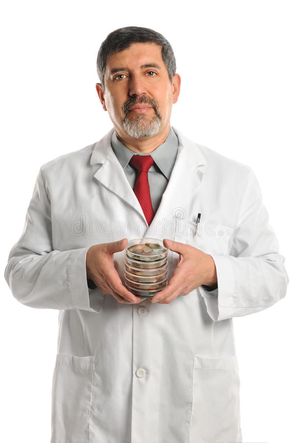 Download Scientist Holding Petri Dishes With Bacteria Royalty Free Stock Photo - Image: 26910065