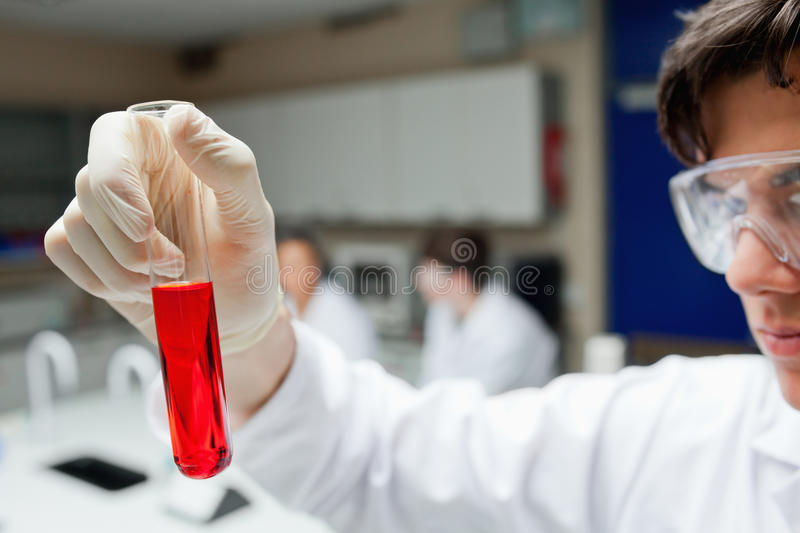 Scientist Holding A Test Tube Royalty Free Stock Photos