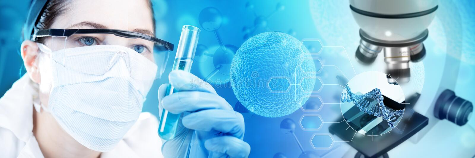Scientist holding a test-tube stock image