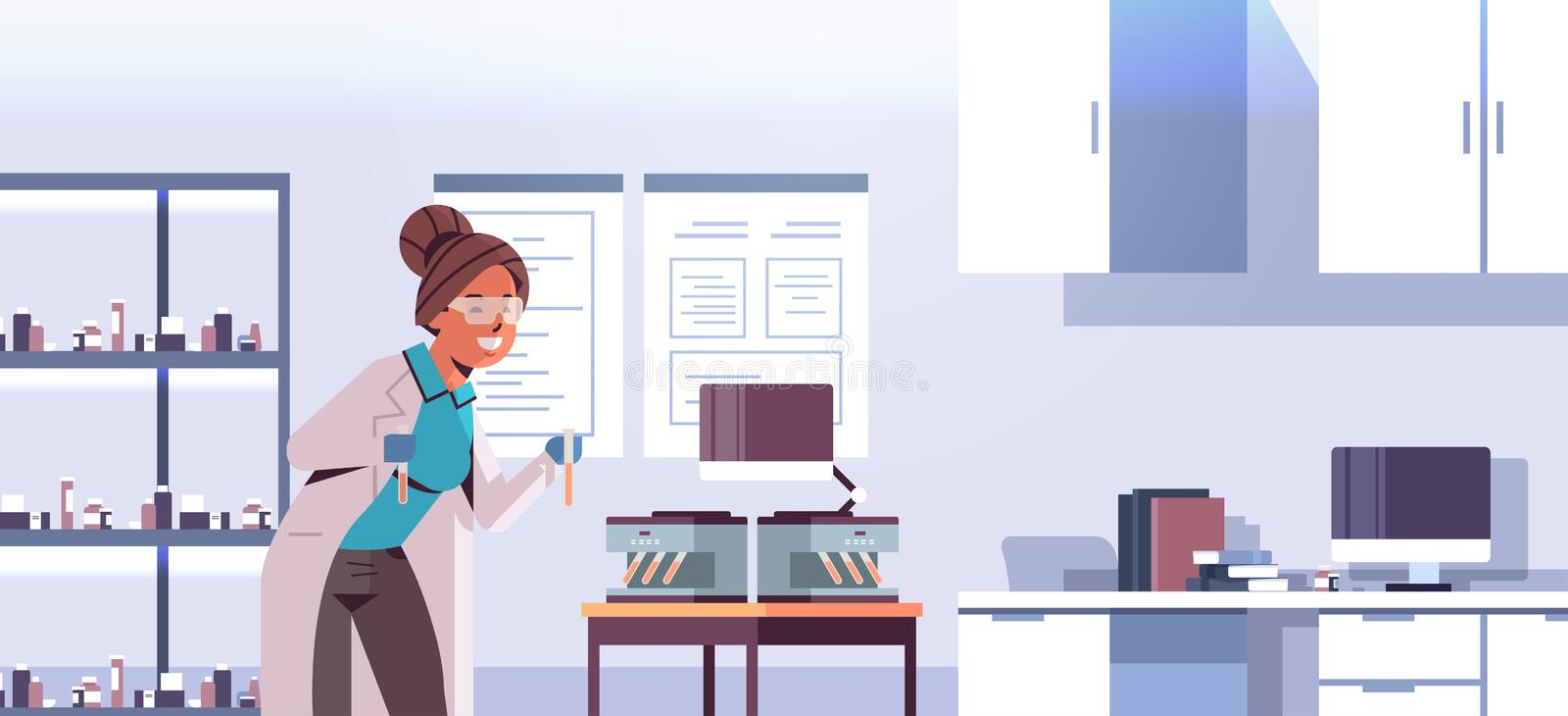 Scientist holding test tubes with blood samples woman in uniform using analyzer medical machine research science royalty free illustration