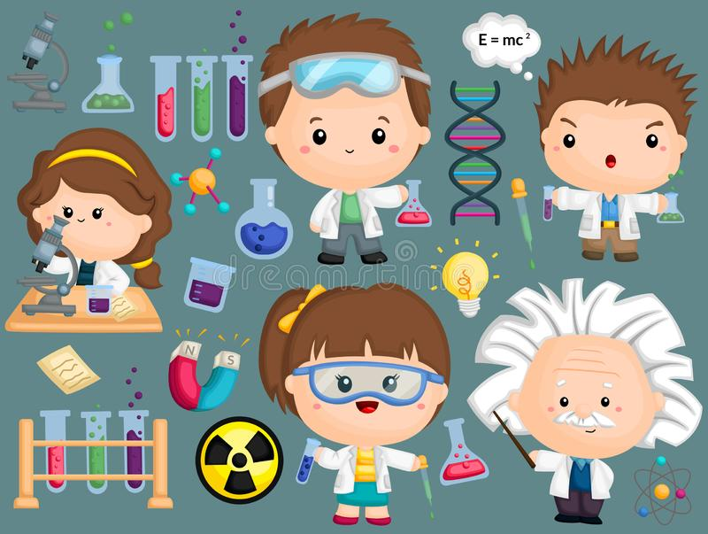 Scientist Image Set. A scientist image set with many object vector illustration