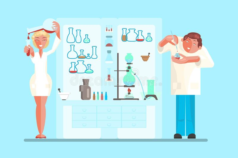 Scientist in lab room stock illustration