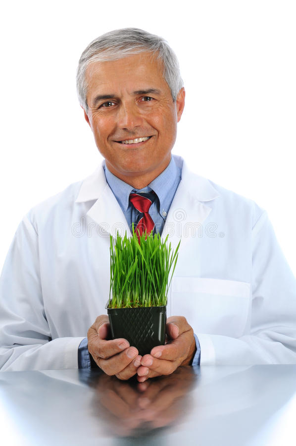 Scientist with laboratory grown plant. Smiling scientist holding a laboratory grown plant in container in both of his hands. Vertical format isolated over white royalty free stock image