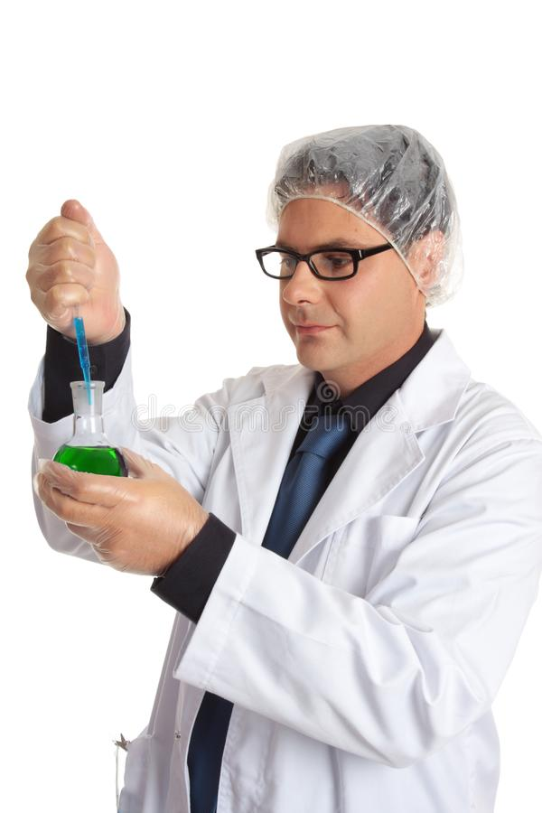 Scientist with laboratory sample stock image