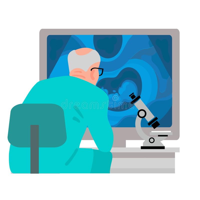 Scientist looking at computer screen with ultrasound image of baby in mothers womb. Vector royalty free illustration