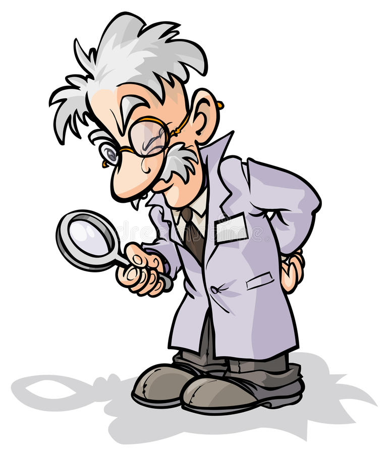 Scientist with a magnifying glass. stock illustration