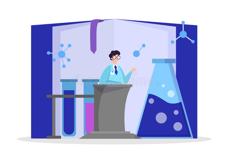 Scientist making medical research. Laboratory equipment vector vector illustration