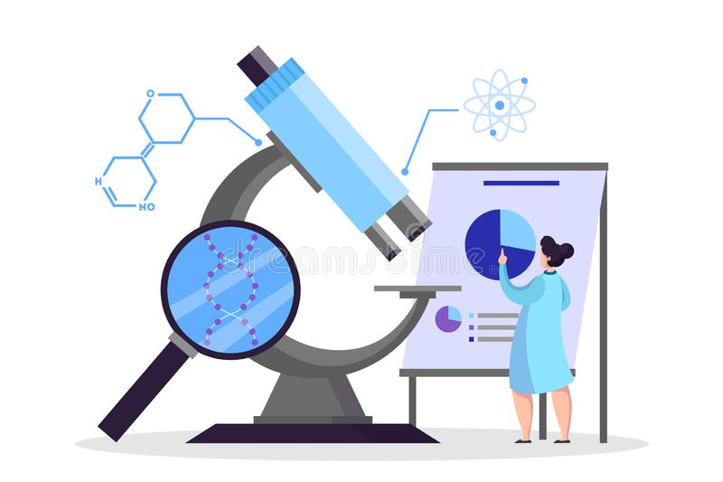 Scientist making medical research. Laboratory equipment vector. Scientist making medical research. Laboratory equipment, microscope. Medicine and chemistry royalty free illustration
