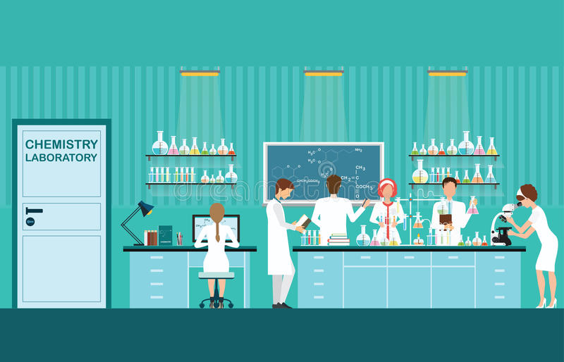 Scientist male and female making research and experiments at sci royalty free illustration