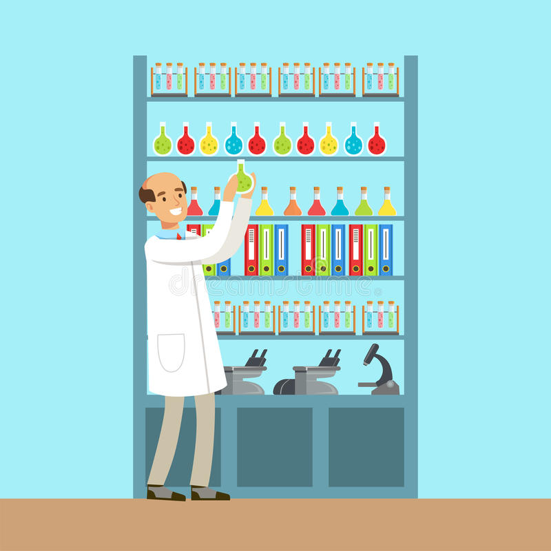 Scientist man working research in chemical lab, interior of science laboratory, vector Illustration vector illustration