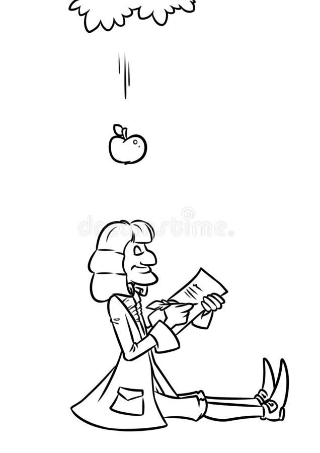 Free Scientist Newton Apple Gravity Cartoon Royalty Free Stock Photo - 142624445