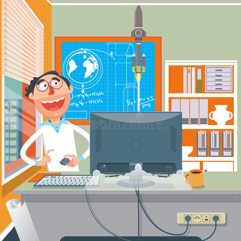 Scientist performing an experiment cartoon vector royalty free illustration
