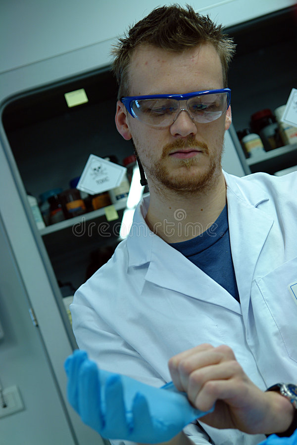 Scientist professor putting on his gloves royalty free stock photography