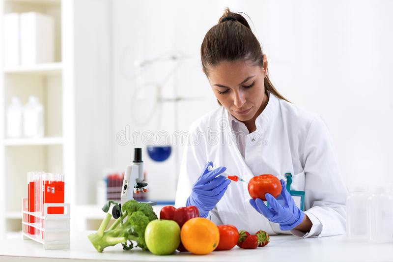 Scientist putting new sample to vegetables and cheking results stock image