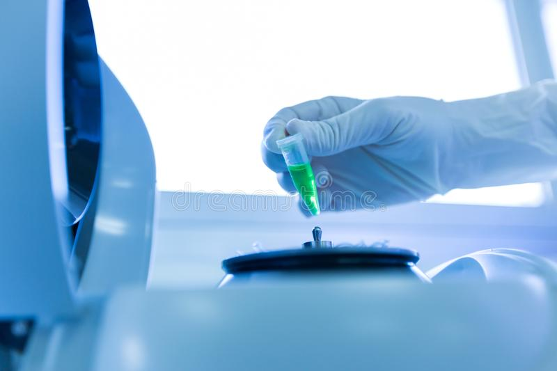 Scientist a putting test tube into centrifuge in laboratory stock image