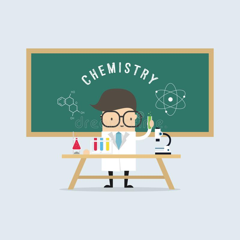 Scientist in school lab coat with chemical glassware. vector illustration