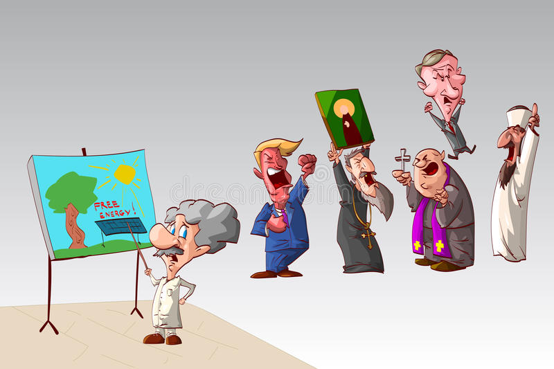 Scientist and stupid world political and religious leaders stock illustration