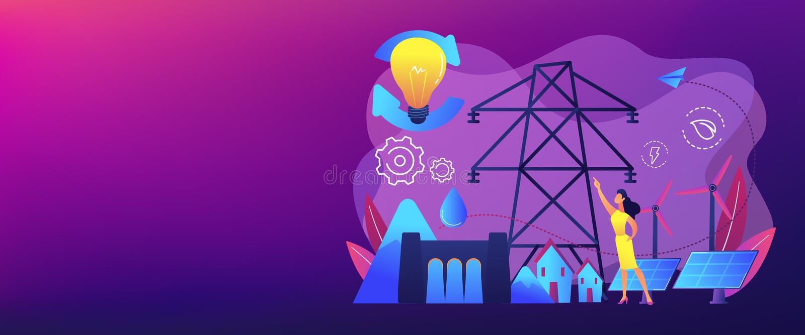Sustainable energy concept banner header. royalty free illustration