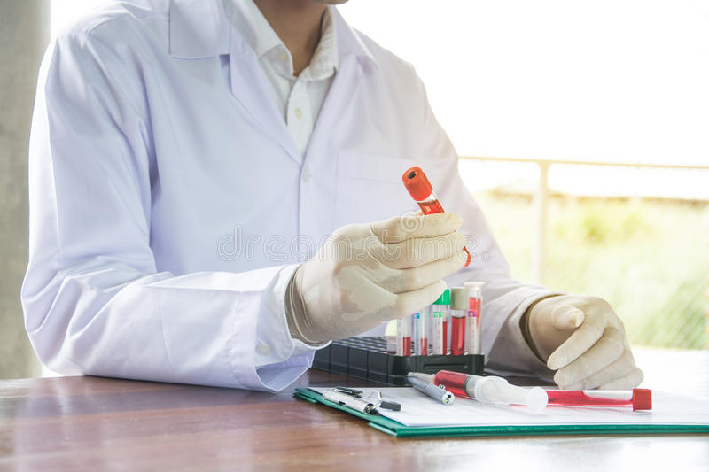 Scientist with test tube making research in clinical laboratory. stock images