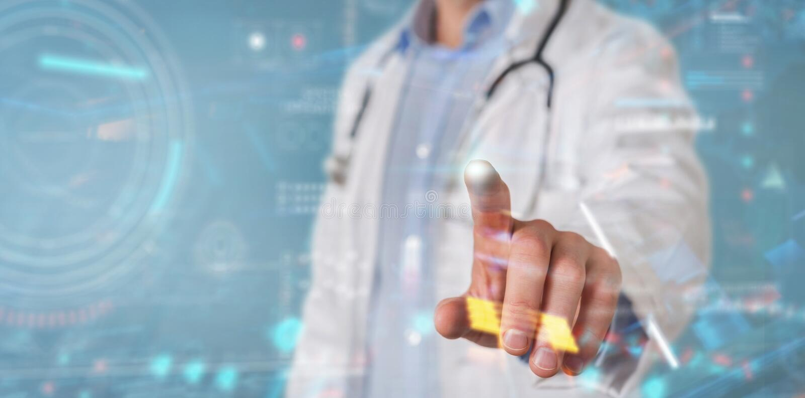 Scientist using digital technological interface with datas 3D rendering vector illustration