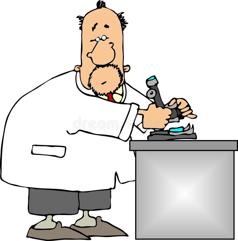 Scientist using a microscope stock illustration