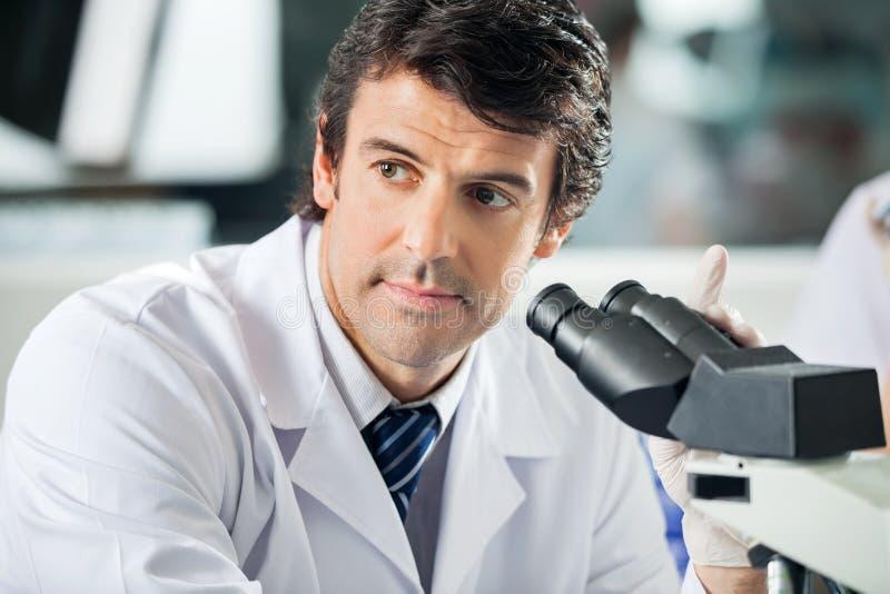 Scientist Using Microscope In Laboratory stock image