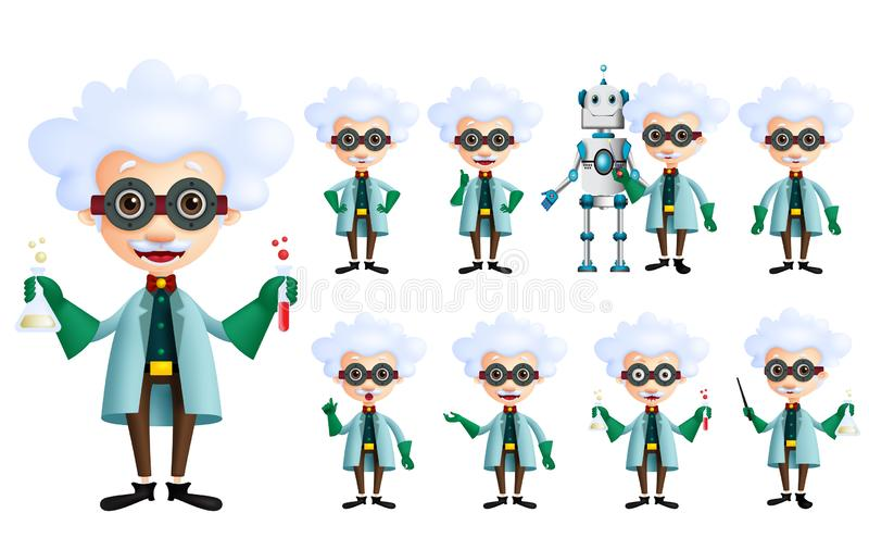 Scientist vector character set. Old genius male inventor holding test tube with various gestures, posses. And inventions isolated in white. Vector illustration royalty free illustration