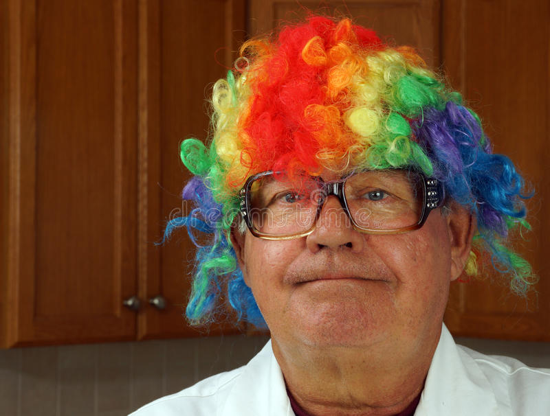 Scientist Wears A Clown Wig Stock Photos