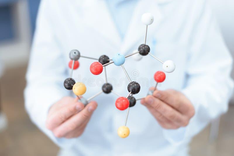 Scientist in white coat holding molecular model. Close-up partial view of scientist in white coat holding molecular model stock photo