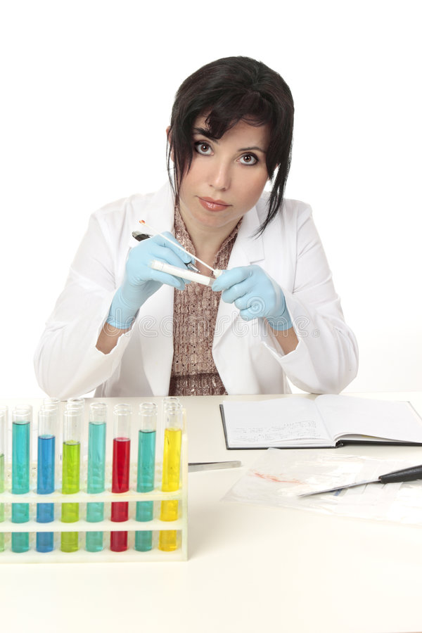 Scientist at work. Holding a sample swab stock photo