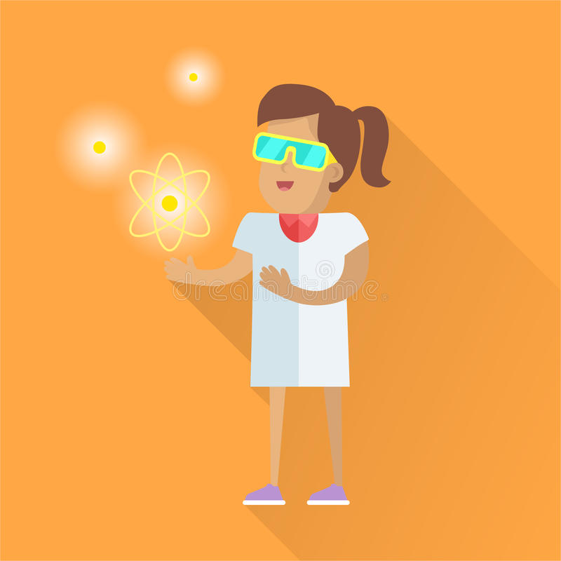 Scientist at Work Vector Flat Style Illustration royalty free illustration