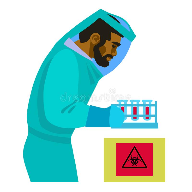 Scientist working with bio hazardous substances. Man in biological protective suit holding test tubes. Virologist in the stock illustration