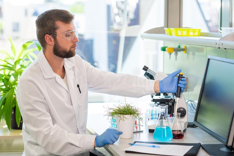 Scientist working in lab. Doctor making microbiology research. Laboratory tools: microscope, test tubes, equipment. Biotechnology, genetics, biochemistry stock image