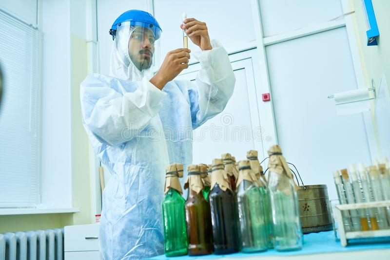 Scientist Working with Test Tubes royalty free stock image