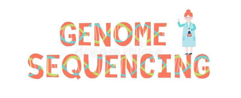scientists Геном sequencing надпись и ученый иллюстрация штока
