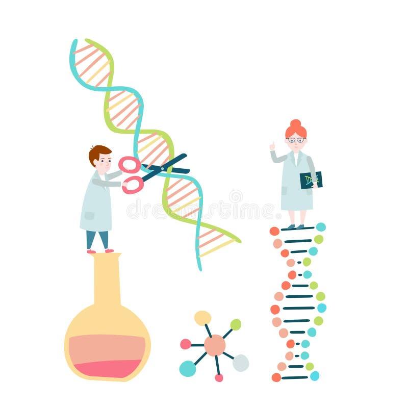 scientists Структура ДНК, sequencing генома иллюстрация штока