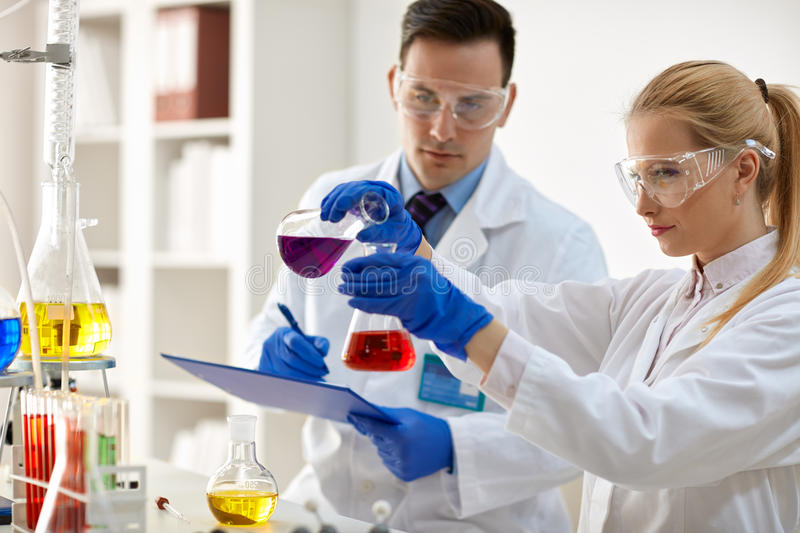 Scientists doing medical research royalty free stock image