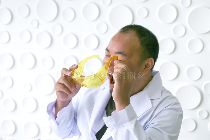 Scientists have accidents while experimenting with science. royalty free stock image