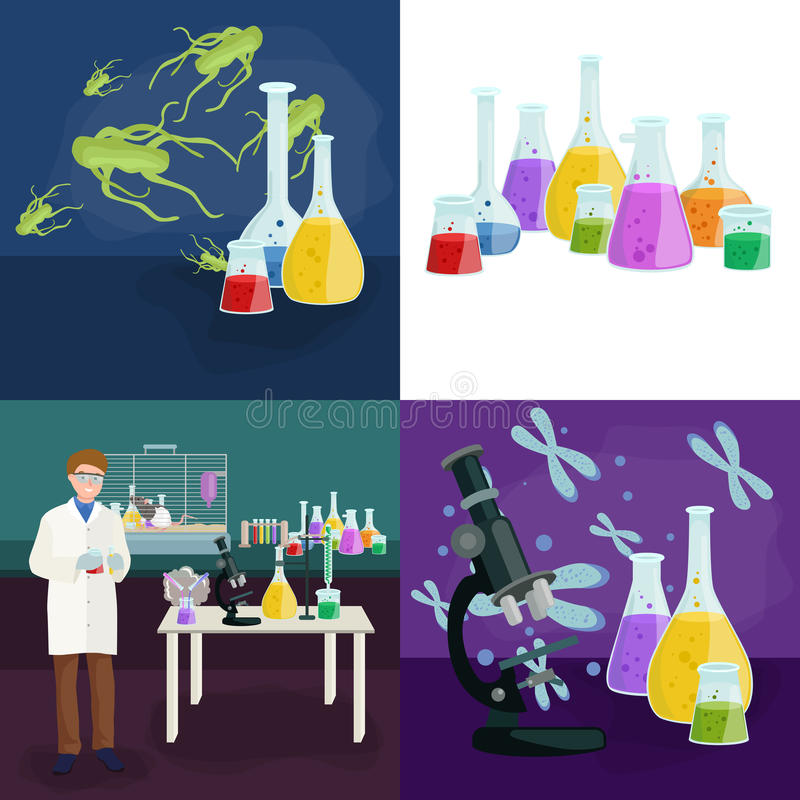 Scientists lab concept with man making research vector illustration vector illustration