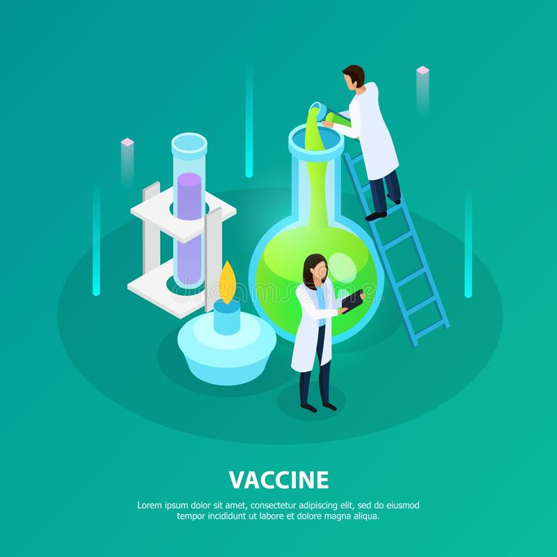 Vaccine Laboratory Experiment Isometric Illustration royalty free illustration