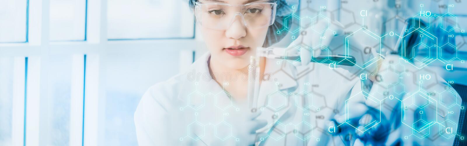 Scientists testing chemical ingredient,with icon and chemical symbol, test samples of antibiotics and future food used in medical. Development for people,web royalty free stock photo