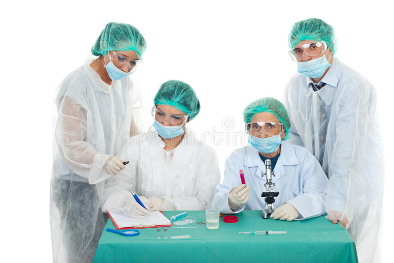 Scientists working in laboratory royalty free stock photos