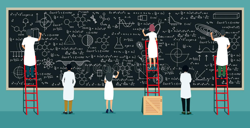 Scientists writing board. Many scientists are thinking and writing on the blackboard vector illustration