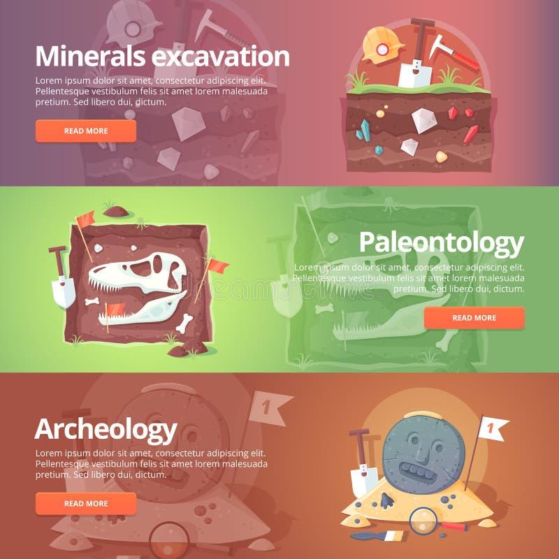 Scienza di vita Scavo dei minerali paleontologia illustrazione vettoriale