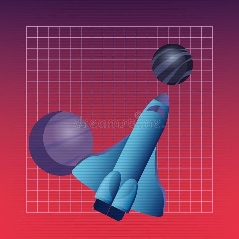 Scienza digitale del futurista del pianeta di Rocket illustrazione vettoriale