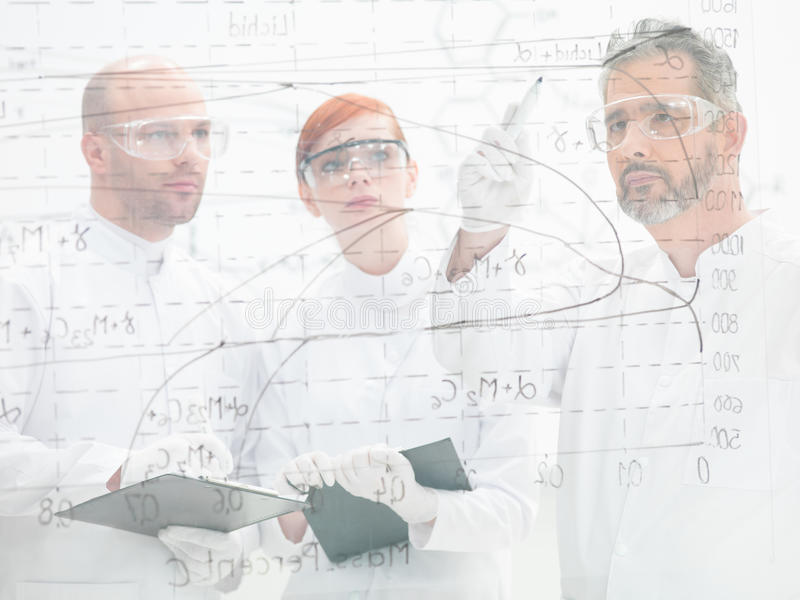 Scienziati che discutono un diagramma fotografia stock libera da diritti