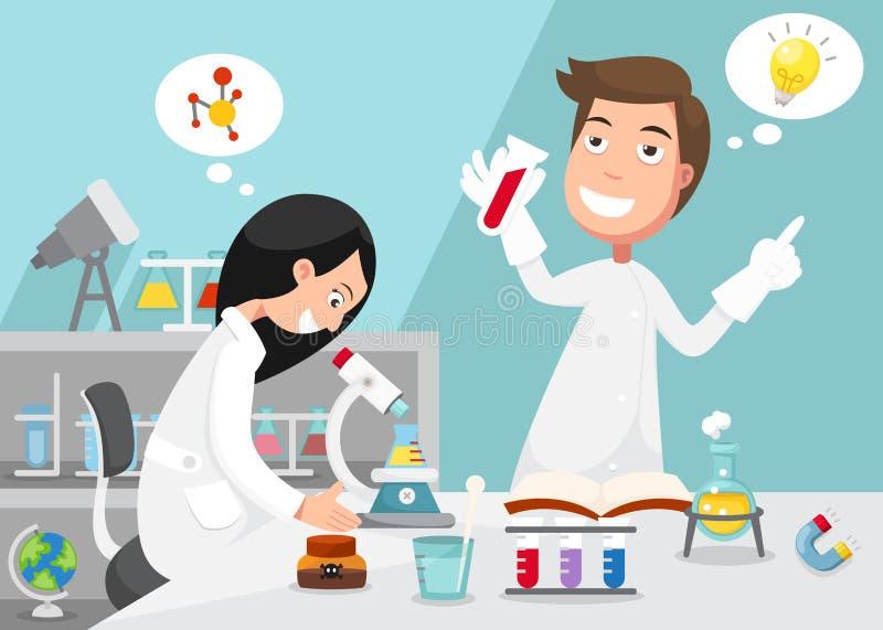 Scienziati che fanno esperimento circondato dall'attrezzatura di laboratorio royalty illustrazione gratis