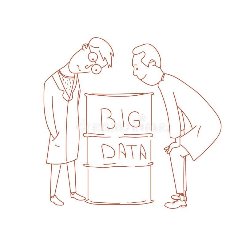Scienziati di dati che studiano porion di grandi dati immagini stock