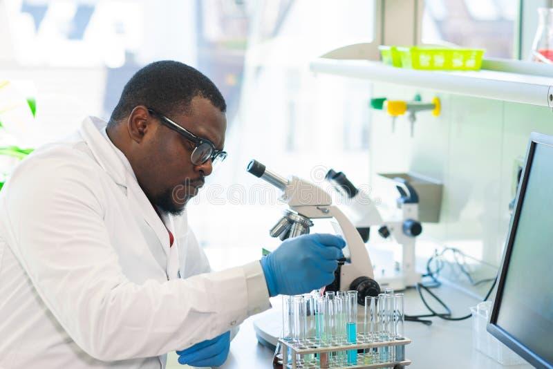 Scienziato afroamericano che lavora nel laboratorio Medico che fa ricerca in microbiologia Strumenti del laboratorio: microscopio fotografie stock
